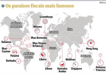 Paraisos fiscais mapa